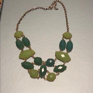 Green jewel stone costume jewelry necklace
